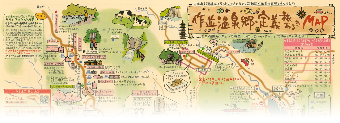 作並温泉郷・定義散策 マップ