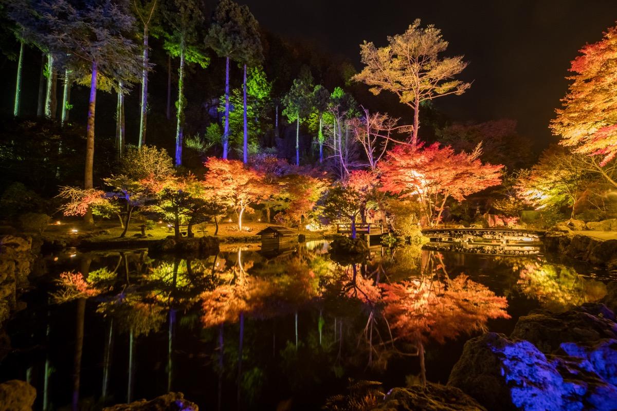 毎年10月下旬から11月中旬に開催されるライトアップ「秋保ナイトミュージアム」の様子