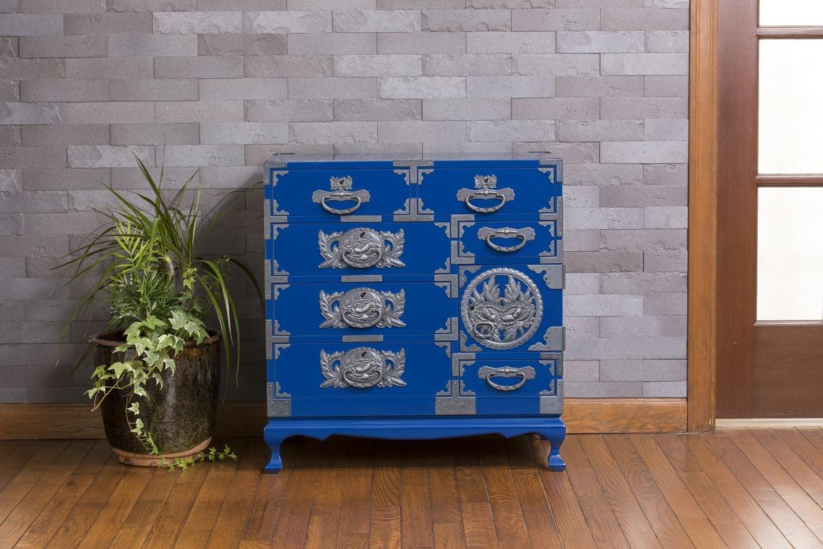 仙台箪笥 猫足チェスト 藍色漆塗り KB-60D