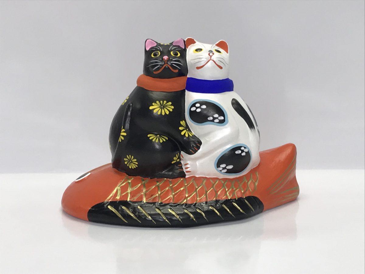 堤人形 鯛のり寄り添い猫