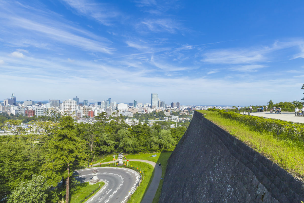仙台城跡からの眺めの様子